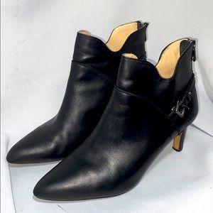 Adrienne Vittadini Black Leather High Heel Booties
